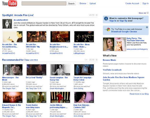 YouTube im Jahr 2010